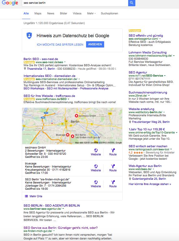 Screenshot Google Suche