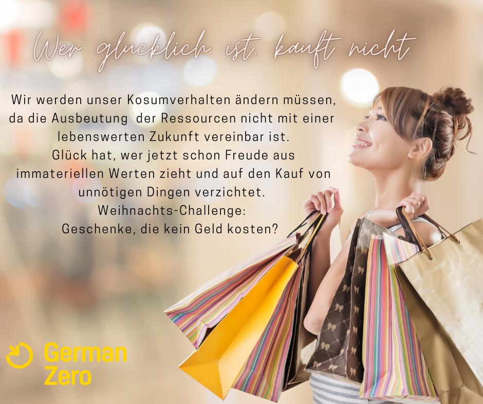 """""""Wer glücklich ist, kauf nicht"""" Test und Foto mit einkaufender Frau"""