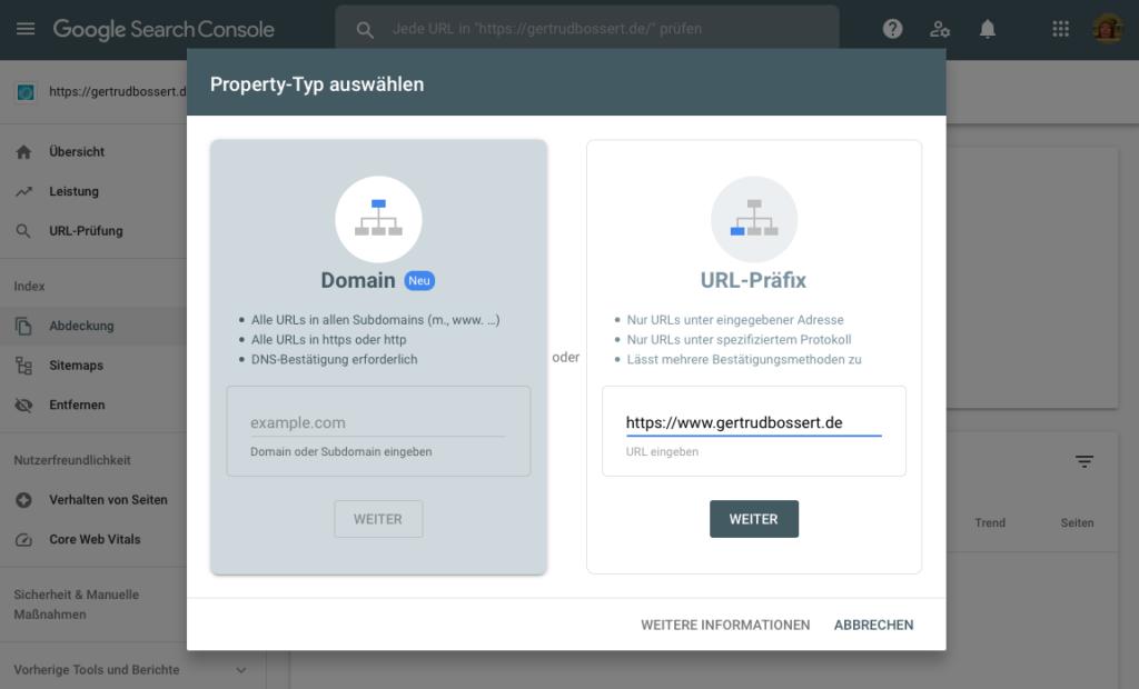 Neue Inhaberschaft Bestätigungsmethoden URL-Präfix oder Domain in der Google Search Console (Screenshot)