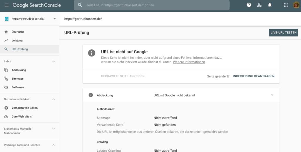 Indexierung in der Google Search Console beantragen (Screenshot)